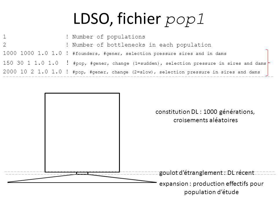 LDSO, fichier pop1 constitution DL : 1000 générations,