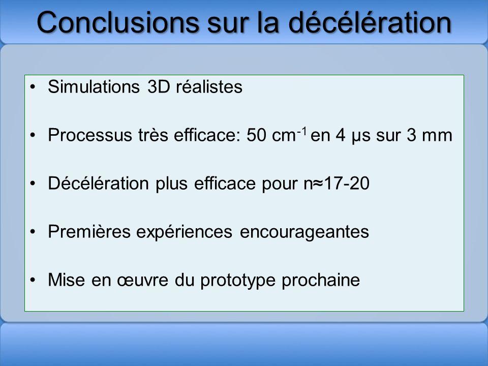 Conclusions sur la décélération