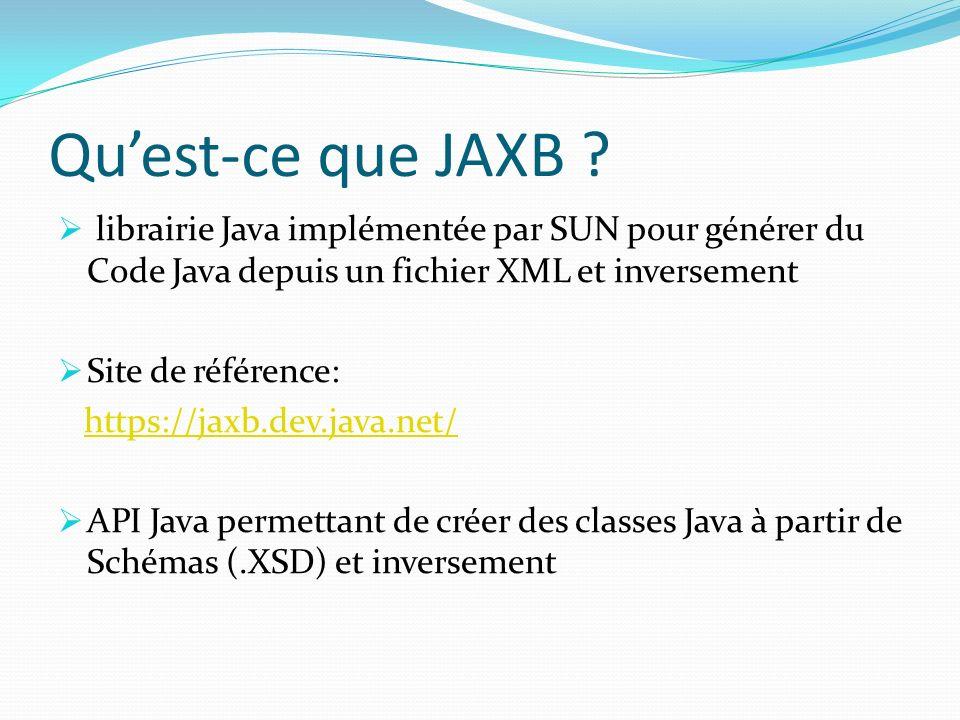 Qu'est-ce que JAXB librairie Java implémentée par SUN pour générer du Code Java depuis un fichier XML et inversement.