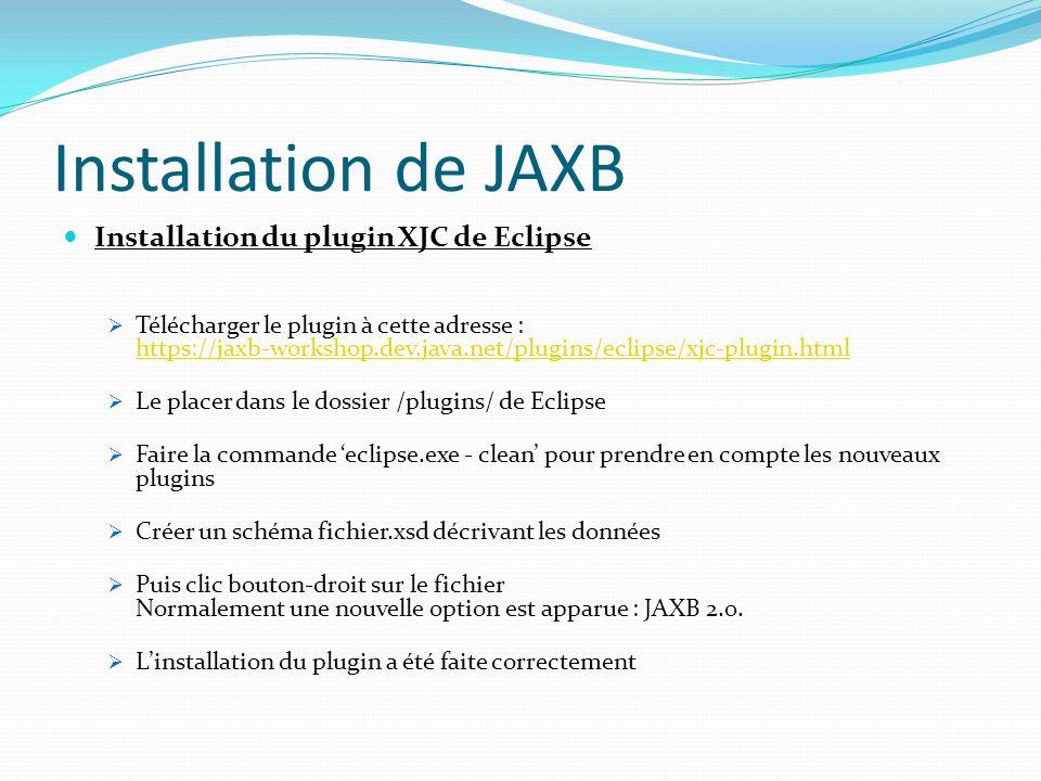 Installation de JAXB Installation du plugin XJC de Eclipse