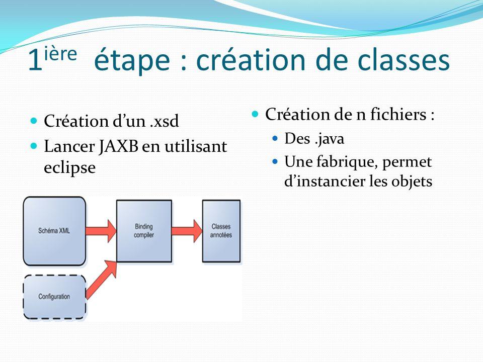 1ière étape : création de classes