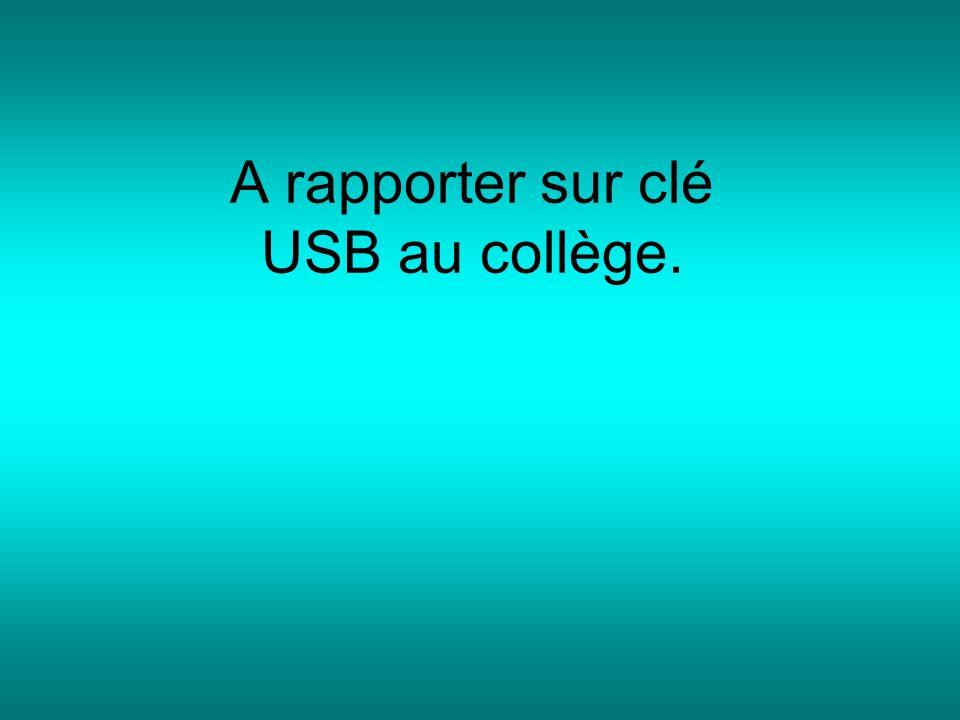 A rapporter sur clé USB au collège.