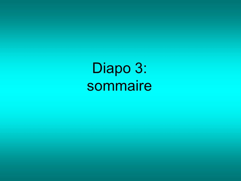 Diapo 3: sommaire