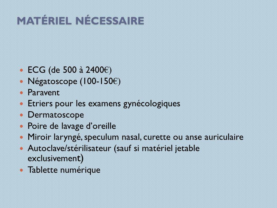 Matériel nécessaire ECG (de 500 à 2400€) Négatoscope (100-150€)