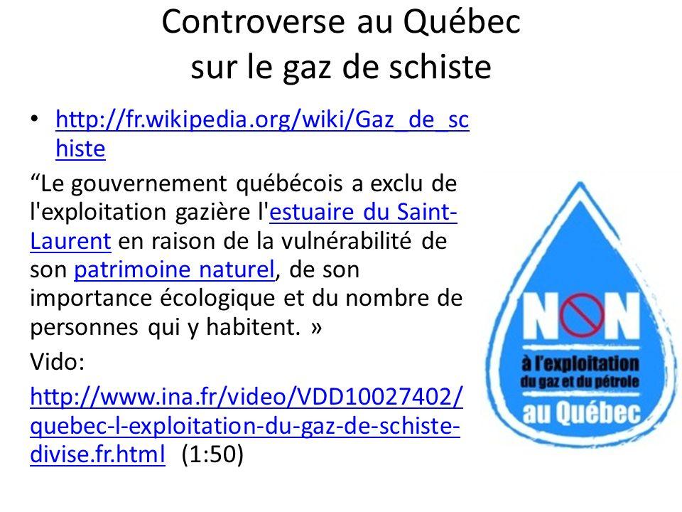 Controverse au Québec sur le gaz de schiste