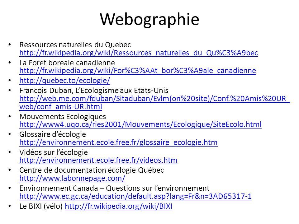 Webographie Ressources naturelles du Quebec http://fr.wikipedia.org/wiki/Ressources_naturelles_du_Qu%C3%A9bec.
