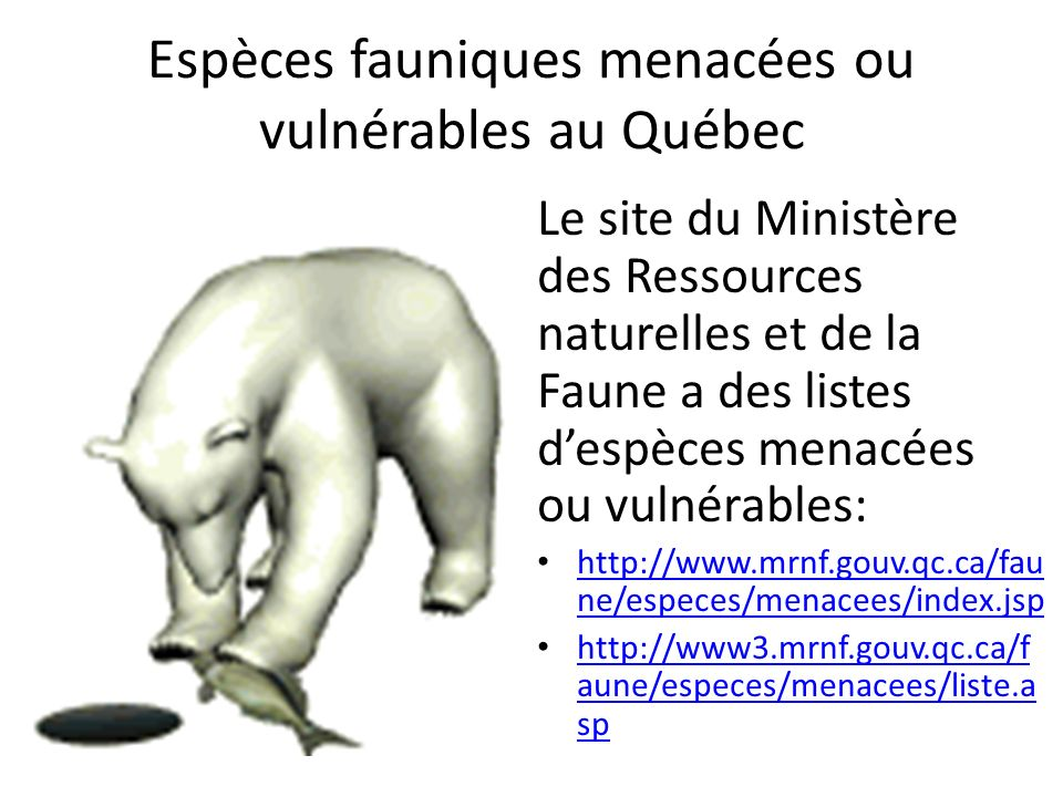 Espèces fauniques menacées ou vulnérables au Québec