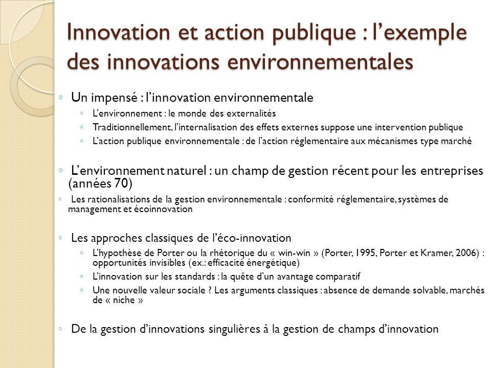Innovation et action publique : l'exemple des innovations environnementales