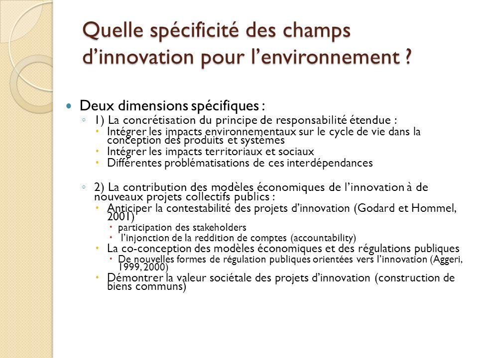 Quelle spécificité des champs d'innovation pour l'environnement