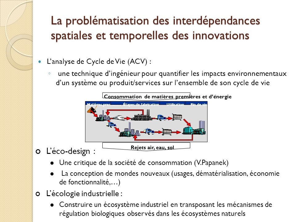 La problématisation des interdépendances spatiales et temporelles des innovations