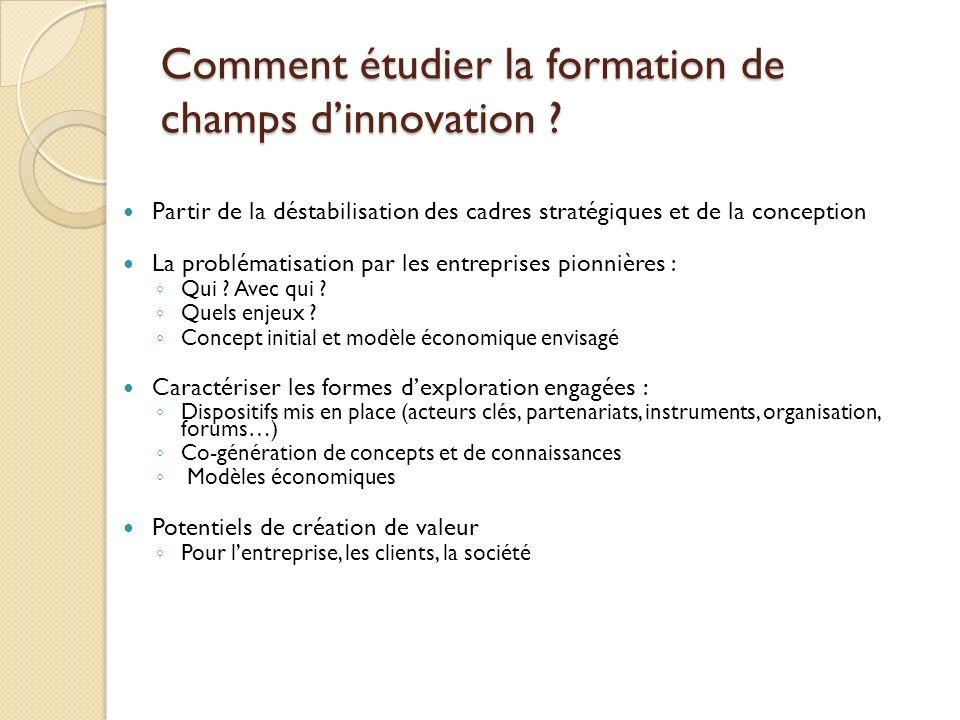 Comment étudier la formation de champs d'innovation