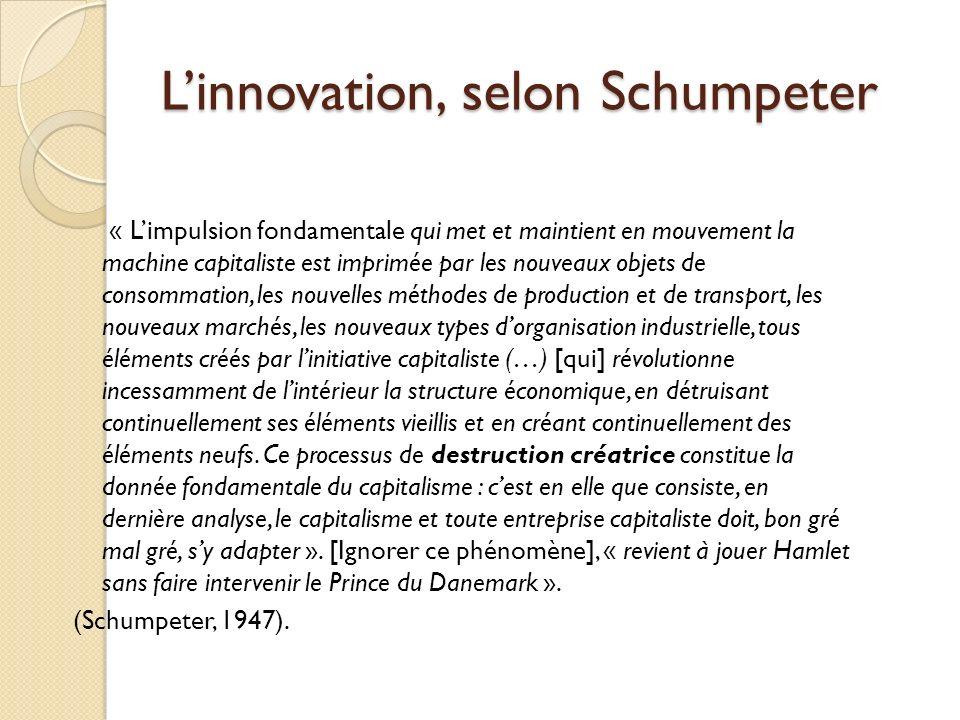 L'innovation, selon Schumpeter