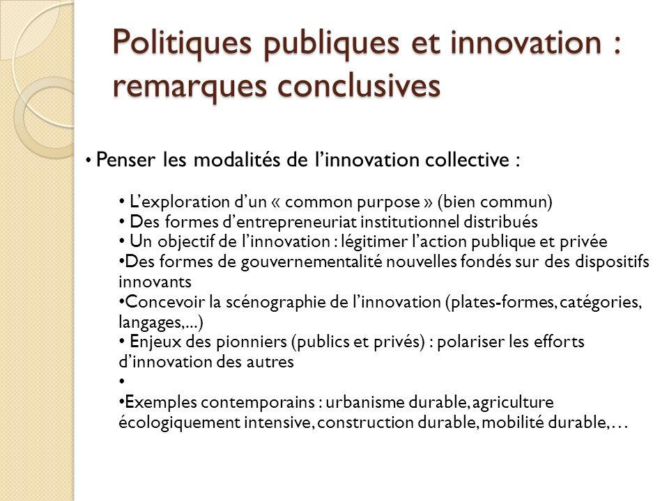 Politiques publiques et innovation : remarques conclusives
