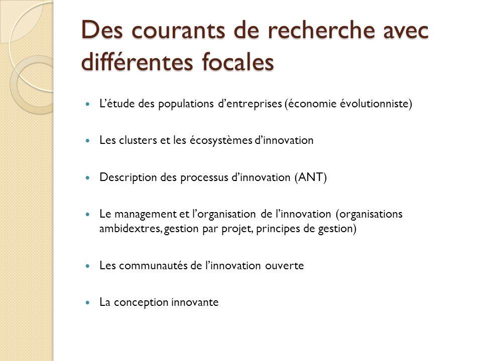 Des courants de recherche avec différentes focales