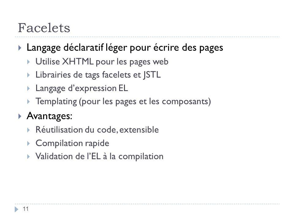 Facelets Langage déclaratif léger pour écrire des pages Avantages: