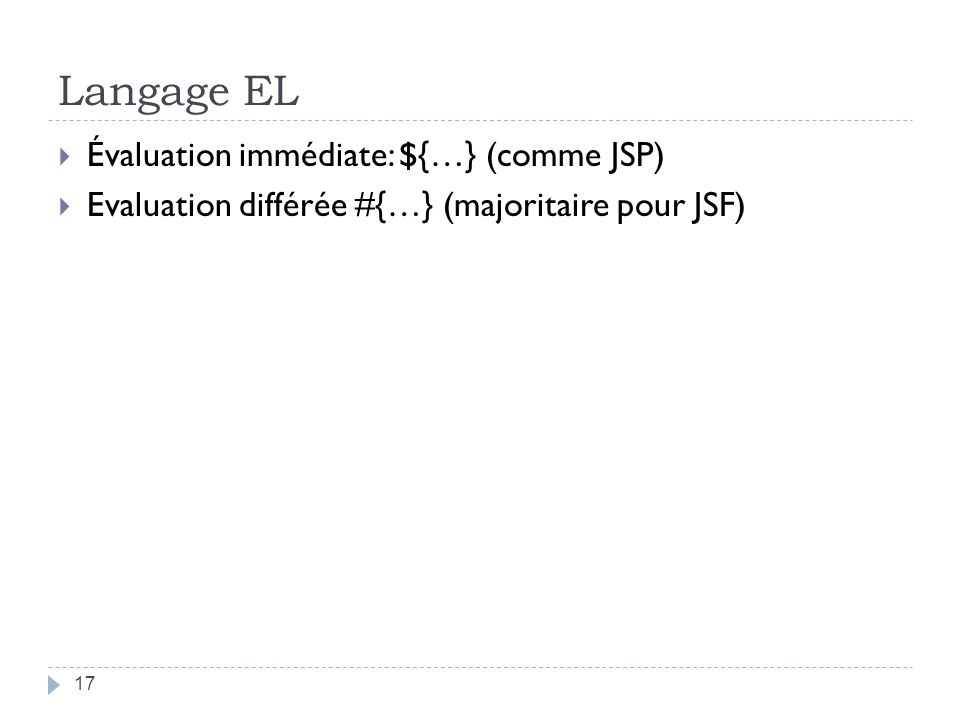 Langage EL Évaluation immédiate: ${…} (comme JSP)