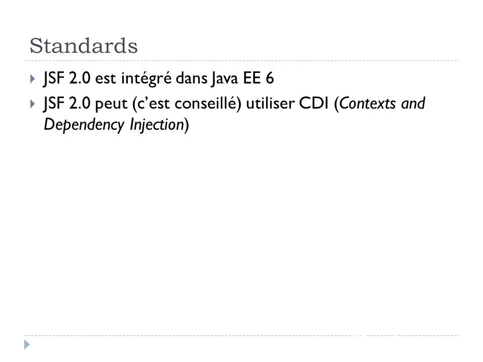 Standards JSF 2.0 est intégré dans Java EE 6