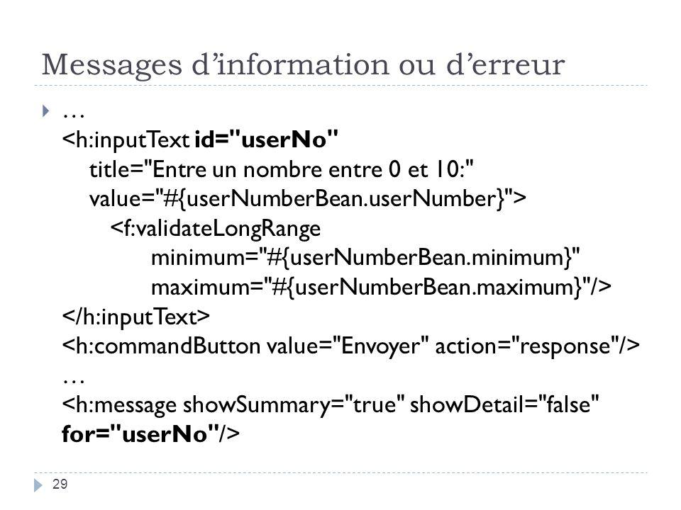 Messages d'information ou d'erreur