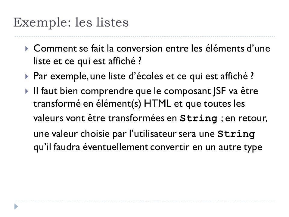 Exemple: les listes Comment se fait la conversion entre les éléments d'une liste et ce qui est affiché