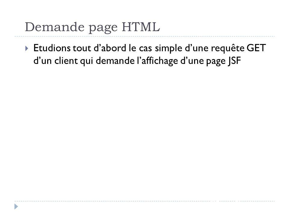 Demande page HTML Etudions tout d'abord le cas simple d'une requête GET d'un client qui demande l'affichage d'une page JSF.