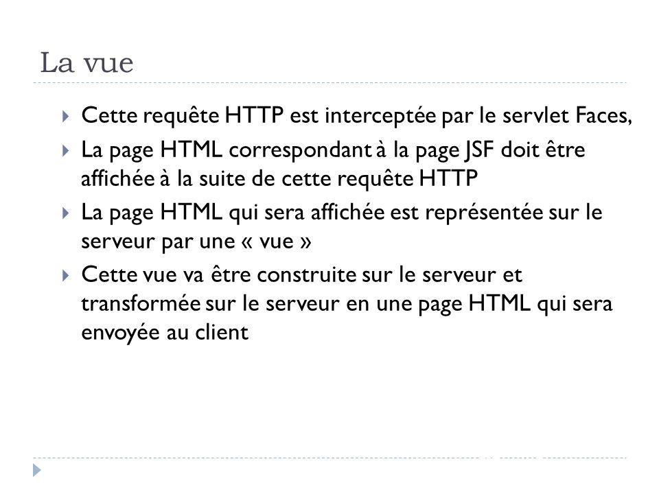 La vue Cette requête HTTP est interceptée par le servlet Faces,