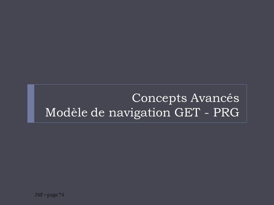 Concepts Avancés Modèle de navigation GET - PRG