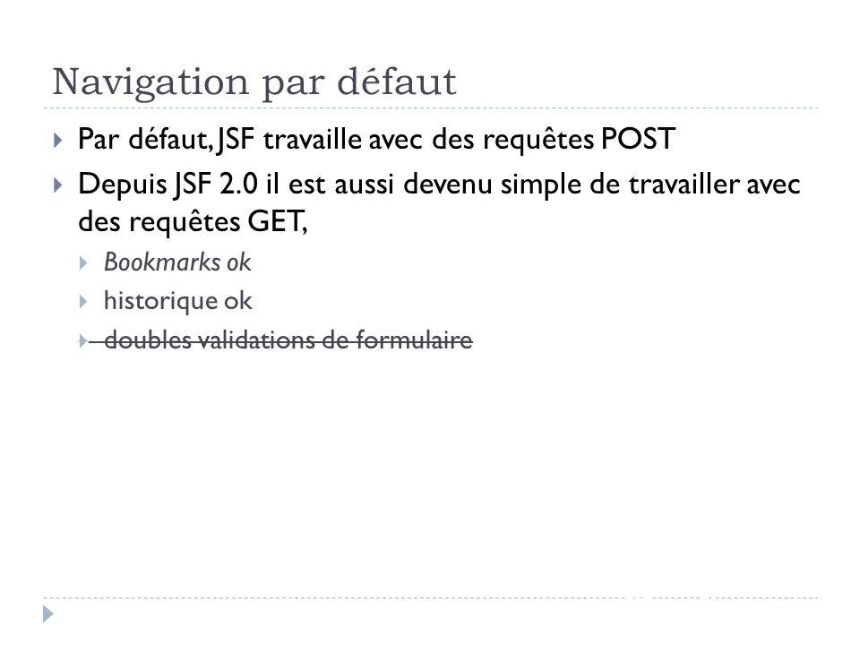 Navigation par défaut Par défaut, JSF travaille avec des requêtes POST