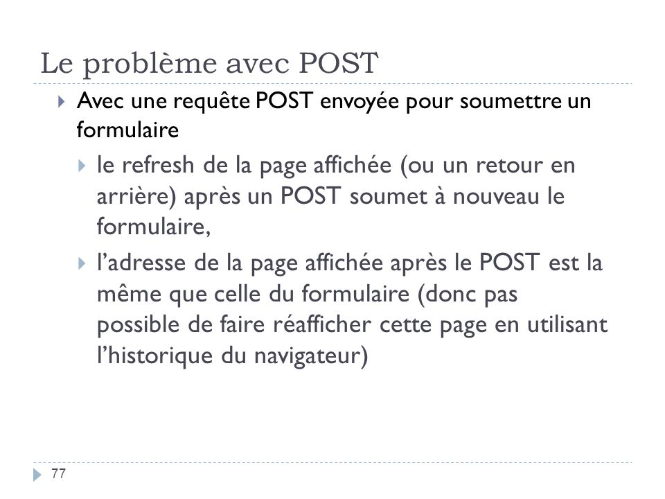 Le problème avec POST Avec une requête POST envoyée pour soumettre un formulaire.