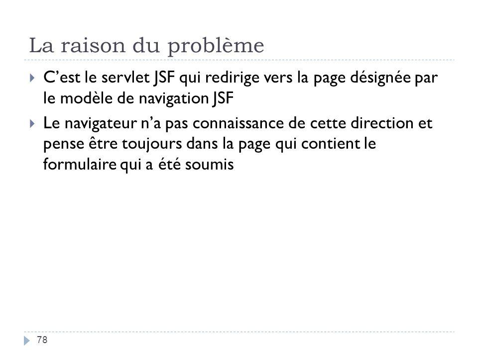 La raison du problème C'est le servlet JSF qui redirige vers la page désignée par le modèle de navigation JSF.