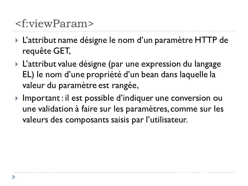 <f:viewParam> L'attribut name désigne le nom d'un paramètre HTTP de requête GET,