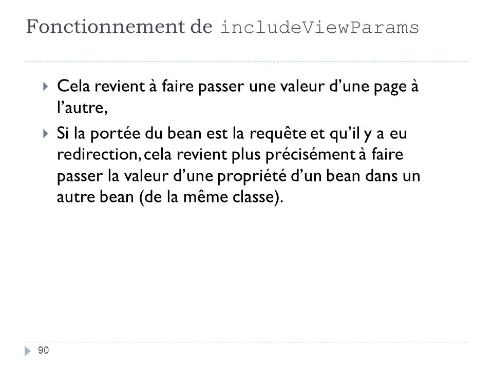 Fonctionnement de includeViewParams