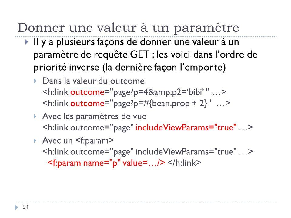 Donner une valeur à un paramètre