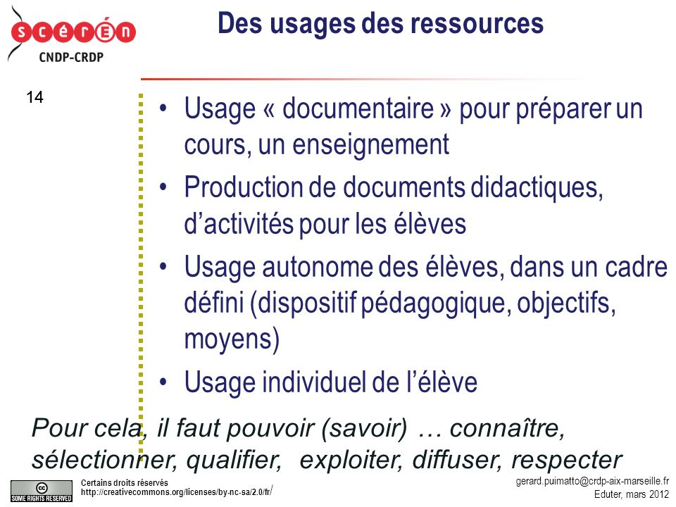 Des usages des ressources