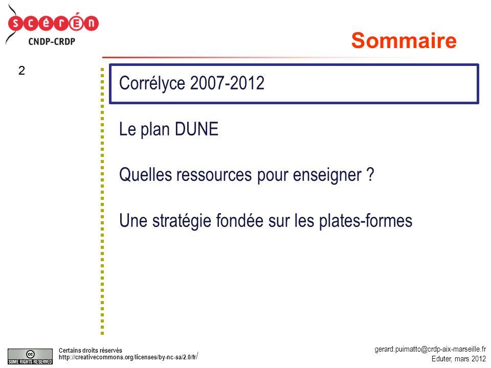Sommaire Corrélyce 2007-2012 Le plan DUNE