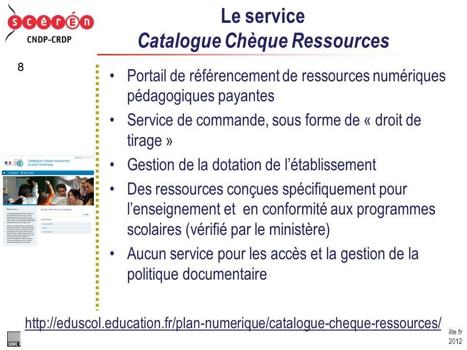 Le service Catalogue Chèque Ressources