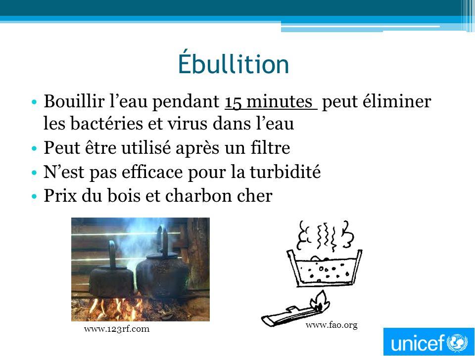 Ébullition Bouillir l'eau pendant 15 minutes peut éliminer les bactéries et virus dans l'eau. Peut être utilisé après un filtre.