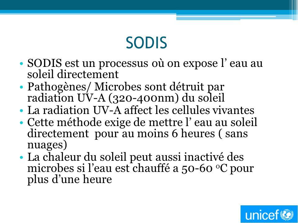 SODIS SODIS est un processus où on expose l' eau au soleil directement
