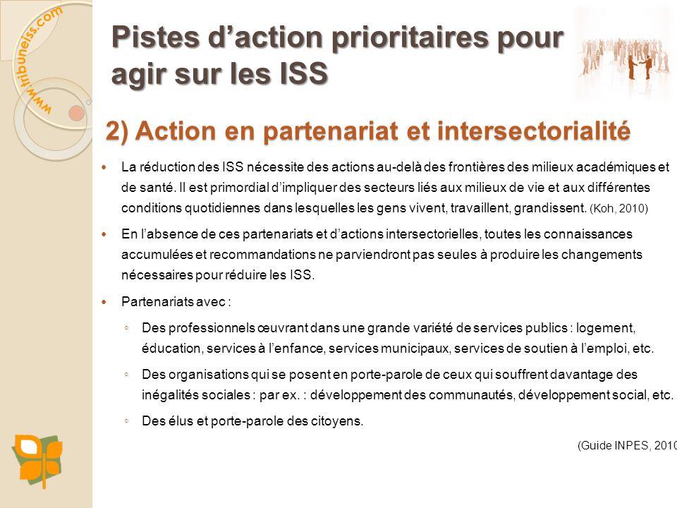 Pistes d'action prioritaires pour agir sur les ISS