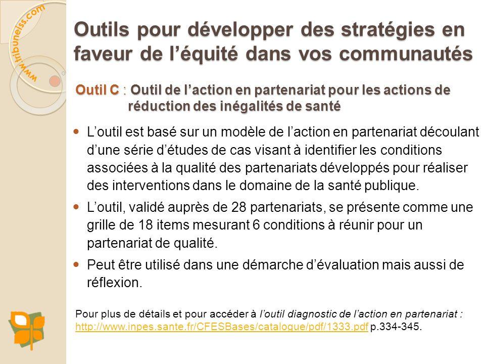 Outil de l'action en partenariat pour les actions de réduction des inégalités de santé (Bilodeau et al., 2010)