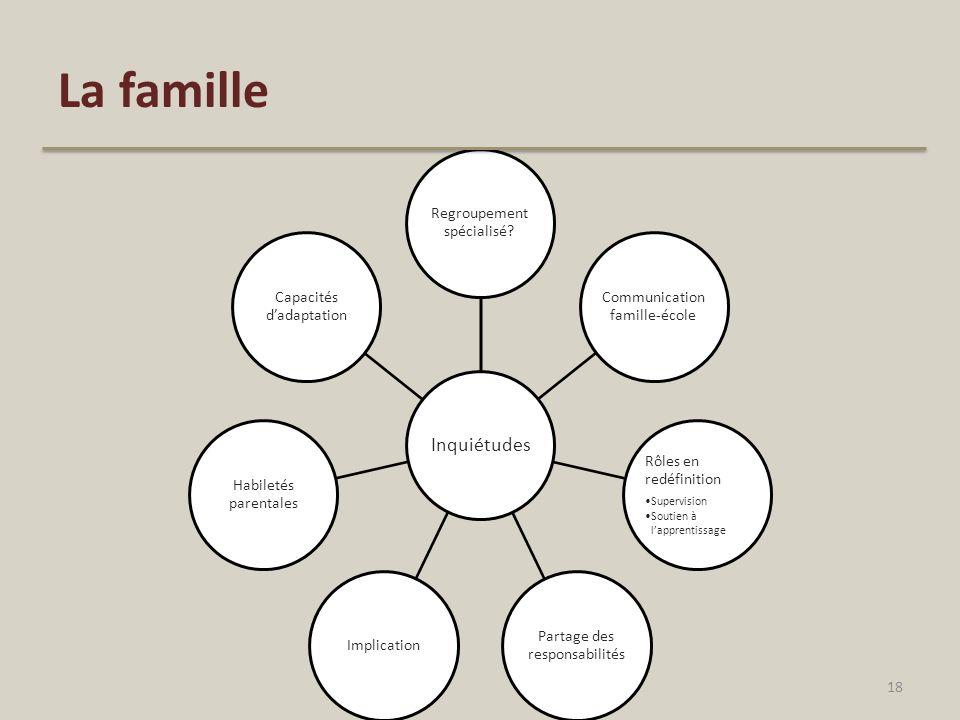 La famille Inquiétudes. Regroupement spécialisé Communication famille-école. Rôles en redéfinition.
