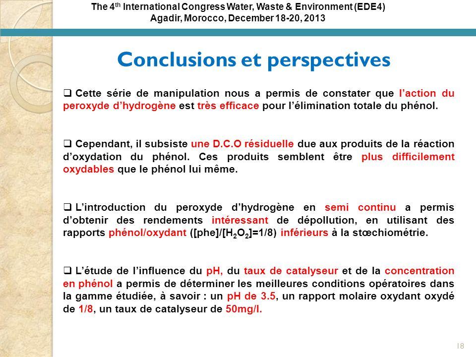 Agadir, Morocco, December 18-20, 2013 Conclusions et perspectives