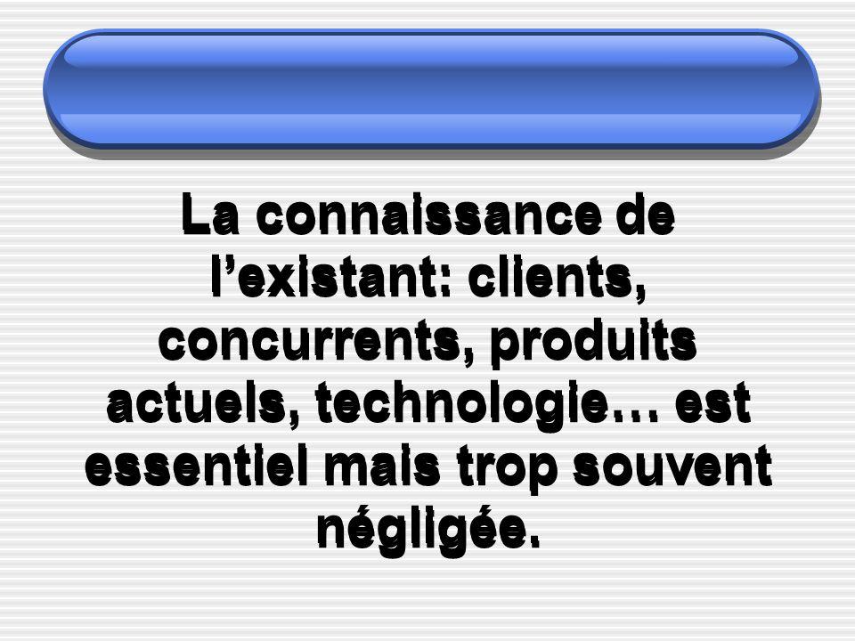 La connaissance de l'existant: clients, concurrents, produits actuels, technologie… est essentiel mais trop souvent négligée.
