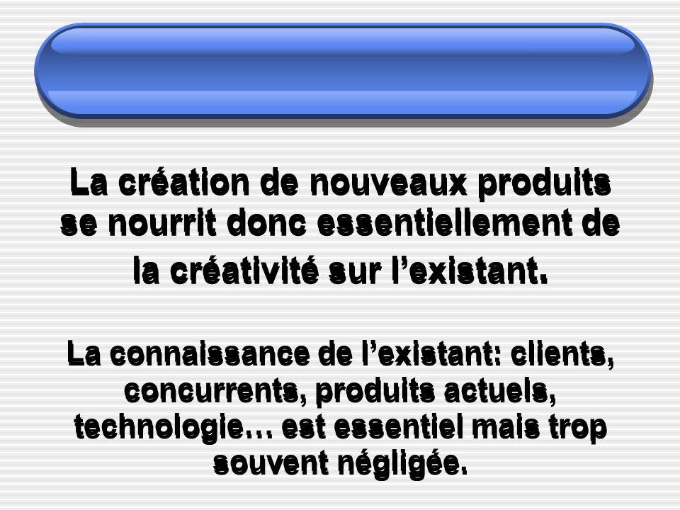 La création de nouveaux produits se nourrit donc essentiellement de la créativité sur l'existant.
