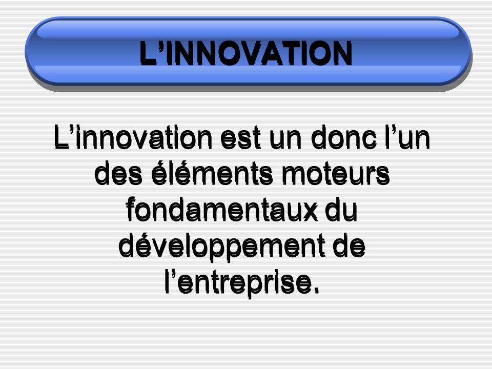 L'INNOVATION L'innovation est un donc l'un des éléments moteurs fondamentaux du développement de l'entreprise.