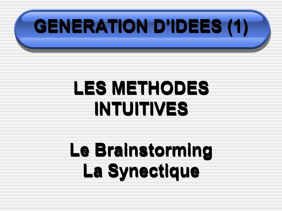 GENERATION D'IDEES (1) LES METHODES INTUITIVES Le Brainstorming La Synectique