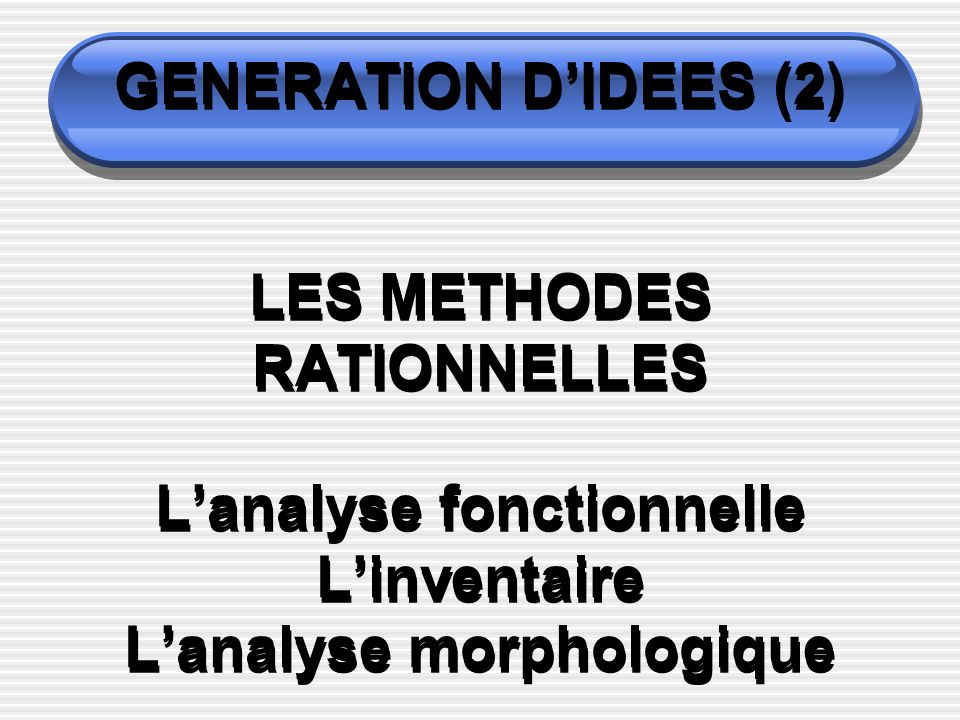 GENERATION D'IDEES (2) LES METHODES RATIONNELLES L'analyse fonctionnelle L'inventaire L'analyse morphologique