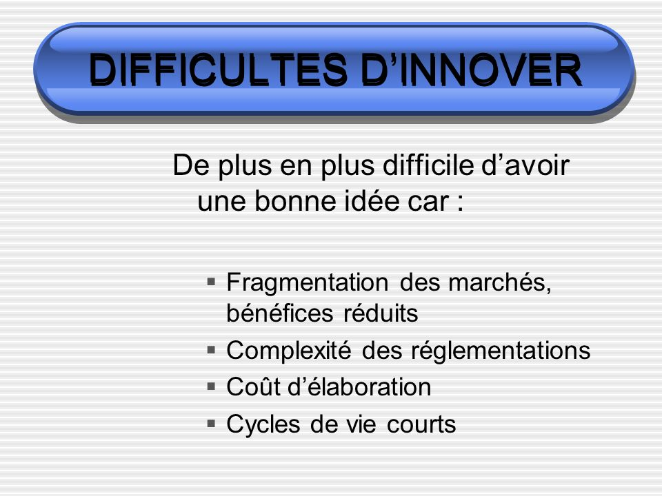 DIFFICULTES D'INNOVER
