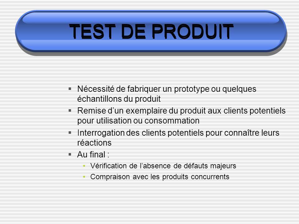 TEST DE PRODUIT Nécessité de fabriquer un prototype ou quelques échantillons du produit.