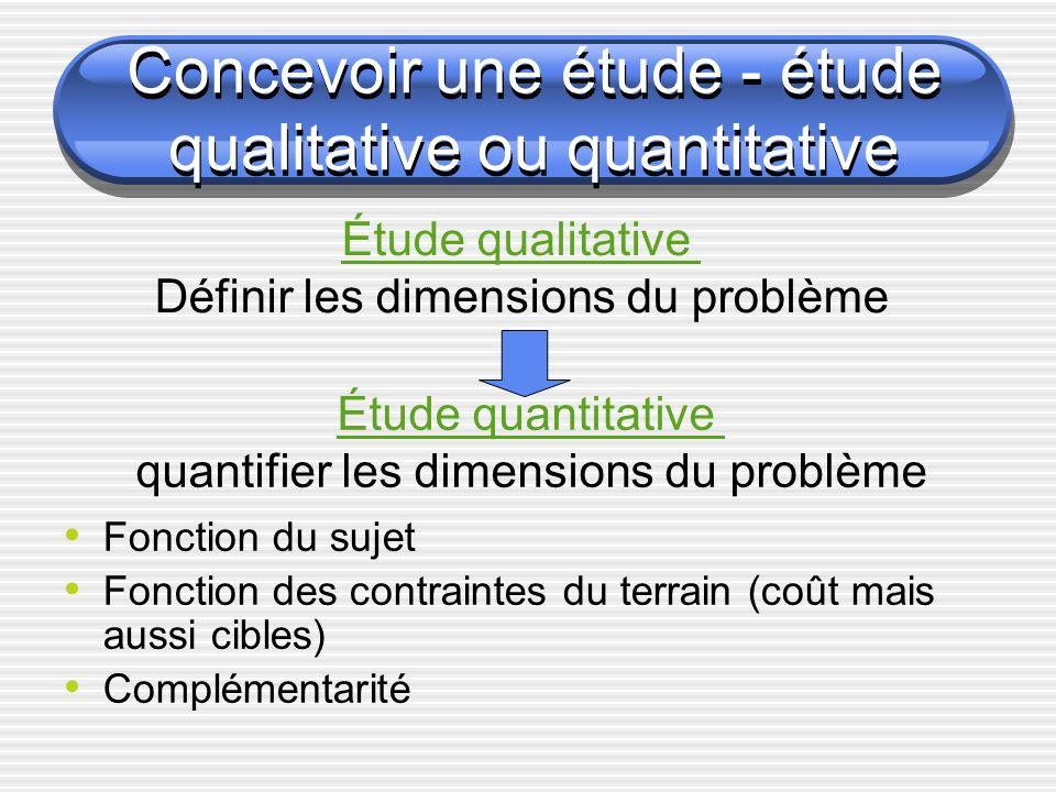 Concevoir une étude - étude qualitative ou quantitative