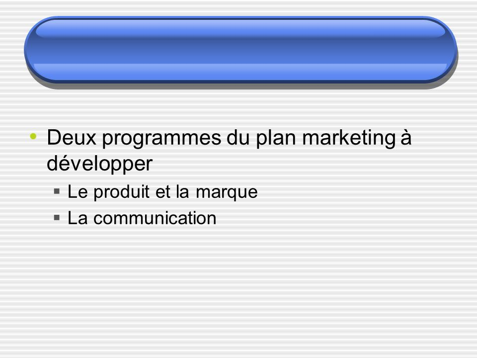 Deux programmes du plan marketing à développer